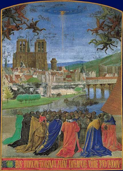Katedra Notre Dame w 1450 r., ilustracja Jeana Fouqueta