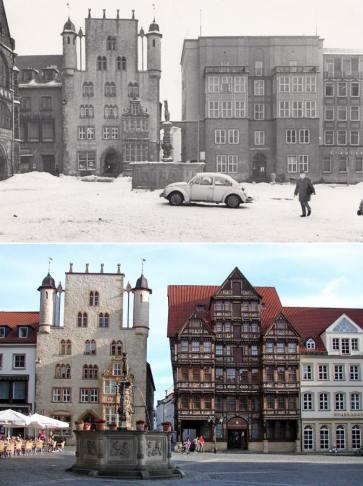 Zachowany XIV-wieczny dom mieszczański Tempelhaus po lewej. Po prawej zrekonstruowany w 1986 wg. projektu z 1598 mieszczański dom Wedekindhaus. Obok niego wybudowany na podstawie projektu z okresu baroku Lüntzelhaus