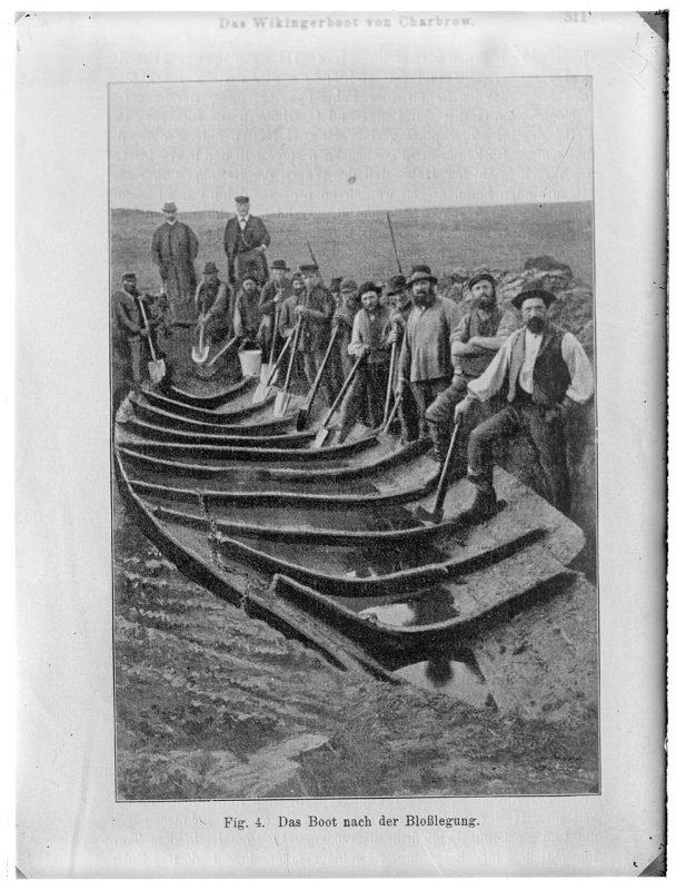 Odkrycie (1896) łodzi wczesnośredniowiecznej w Charbrowie (Archeoportal)