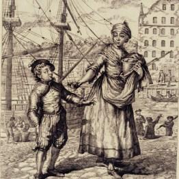gdańscy wywoływacze - sprzedająca pieczone jabłka
