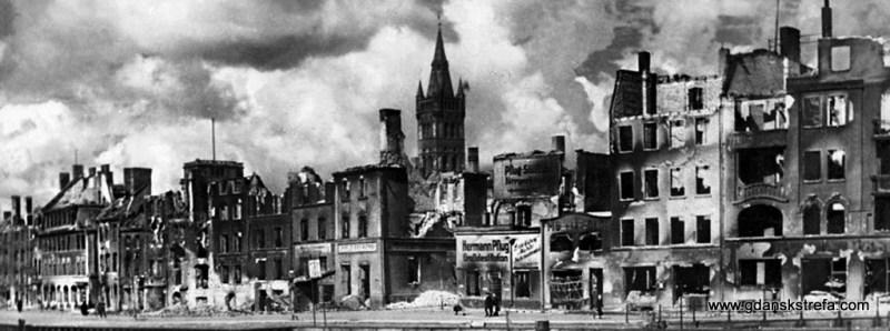 Zniszczenia po nalocie w 1944 roku