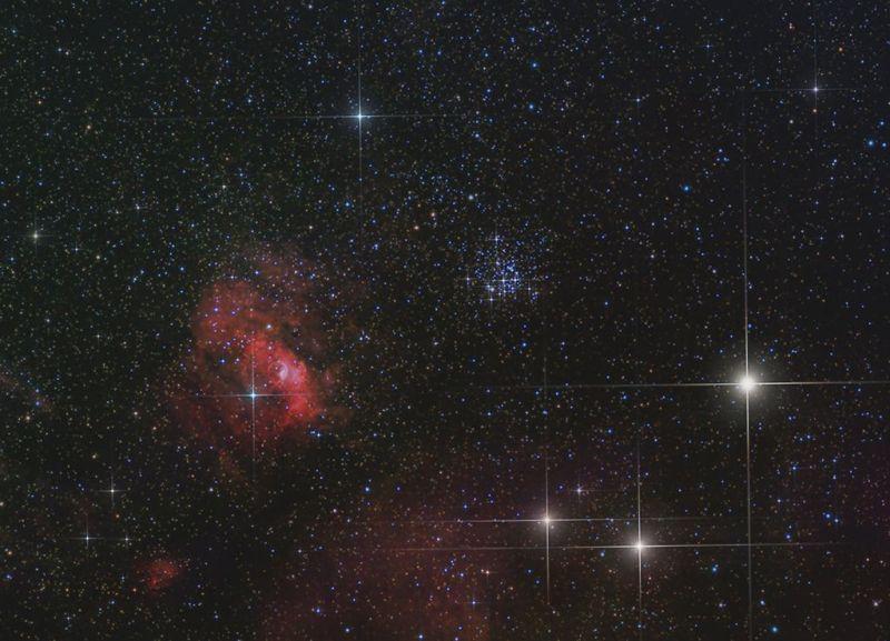 Mgławica Bąbel i Gromada otwarta M52