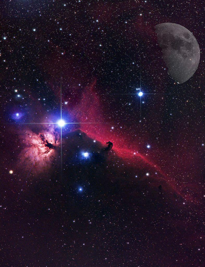 Mgławica Koński Łeb w Orionie, do zdjęcia dołożyłem Księżyc