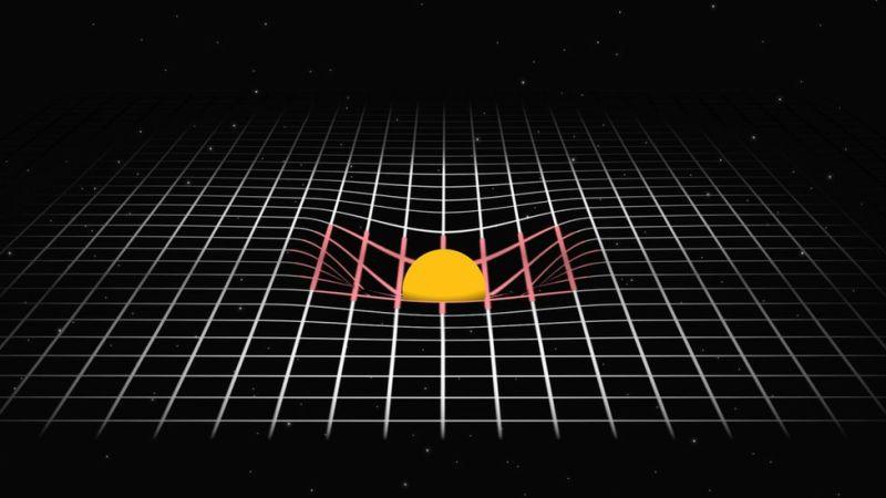Studnia grawitacyjna, masywne ciało zakrzywia przestrzeń wokół siebie; Wikimedia Commons