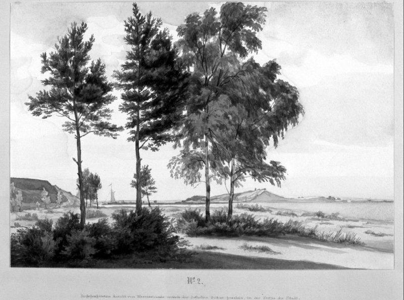 2 - Widok ujścia Wisły od wschodu z panoramą Gdańska na horyzoncie (między wzniesieniami przerwanej Mierzei Wiślanej).