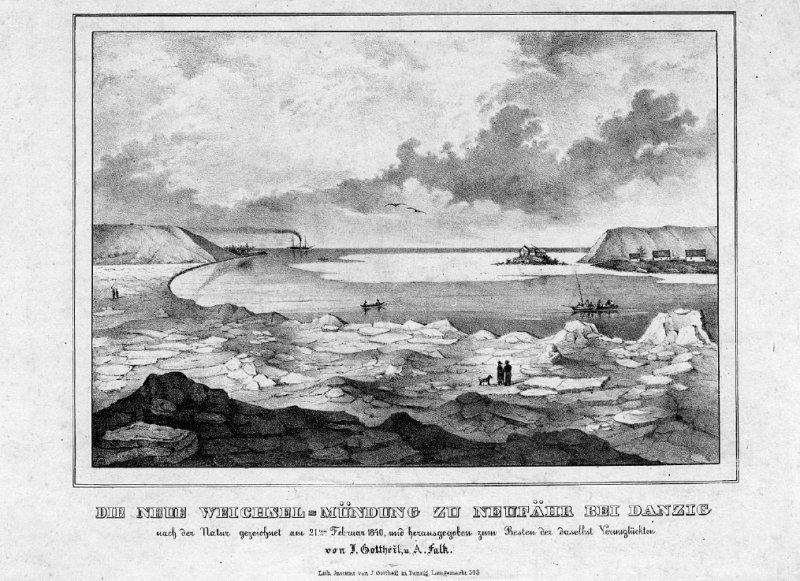 Widok Górek po przełomie Wisły z 21 lutego 1840 r./ A. Falck i Julius Gottheil/ BG PAN
