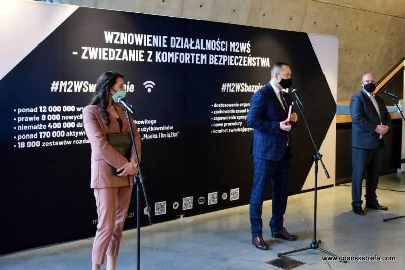 Od dnia 13 maja br. Muzeum II Wojny Światowej w Gdańsku jest znowu otwarte dla zwiedzających. Konferencja prasowa.