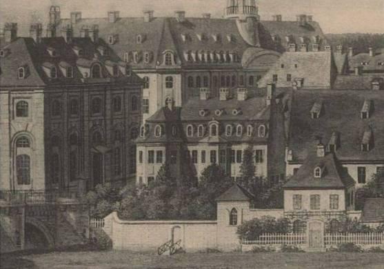 Widok strony Neustädter w Dreźnie, grafika Carl Benjamin Thielemann, około 1800 r. Źródło: Deutsche Fotothek Dresden.
