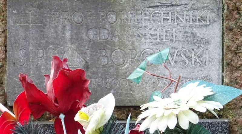 Tablica na grobie prof. Jana Borowskiego