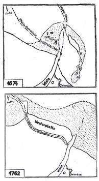 Zmiany torów podejściowych do Wisłoujścia w 1594 r., 1674 r., 1703 r. i 1774 r. Historia Gdańska pod red. Edmunda Cieślaka, t.3, Gdańsk 1993, po s. 64, fot. A. Klejna