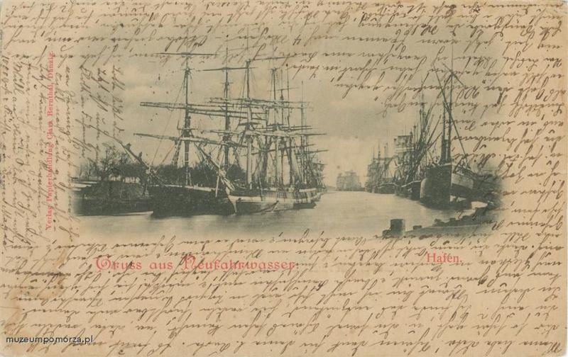 XIX-wieczne żaglowce w kanale portowym. Jeden z najbardziej charakterystycznych widoków dla Nowego Portu z tego okresu.