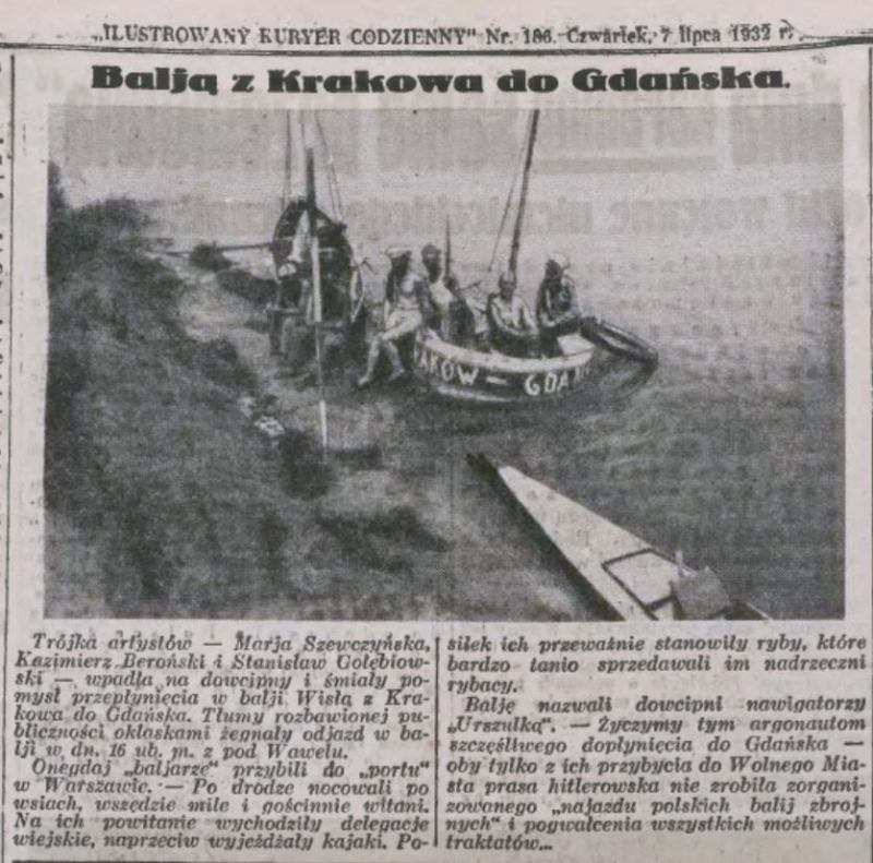 """Z Krakowa do Gdańska… balią. Aktorzy nazwali balię """"Urszulką""""."""