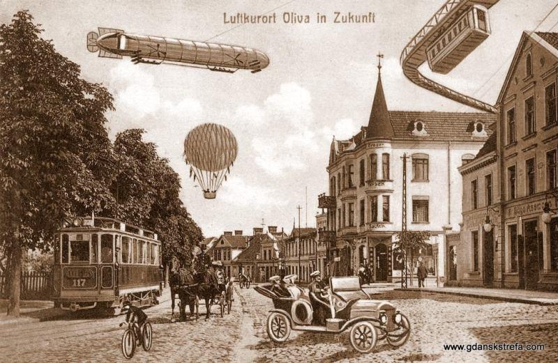 Stary Rynek Oliwski w przyszłości widzianej oczami wyobraźni twórcy pocztówki sprzed 100 lat
