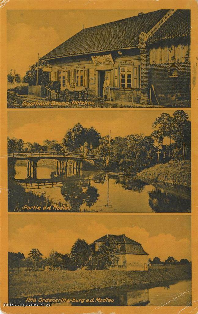 Fragmenty wsi Lędowo (Landau) w gminie Pruszcz Gd. , położonej nad Motławą. Górne zdjęcie pokazuje zajazd prowadzony przez Bruno Netzkau. Pocztówka w obiegu od 17 XI 1941 r.