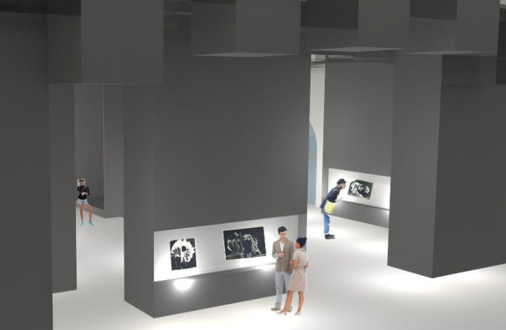 allestimento sala espositiva maxxi