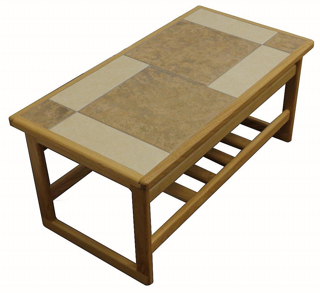mocha tiled top small coffee table