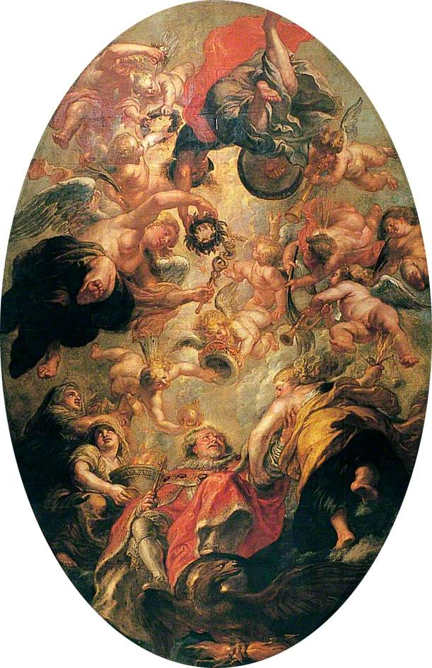 Banqueting House, Whitehall, London. Rubens' painted ceiling. Central canvas depicting the Apotheosis of James I