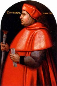 Cardinal Wolsey by an unknown artist. Late 16th century, oil on panel.
