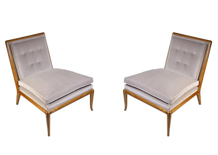 Robsjohn Gibbings pair of walnut and upholstered slipper chairs GORDON WATSON masterpiece london 2015
