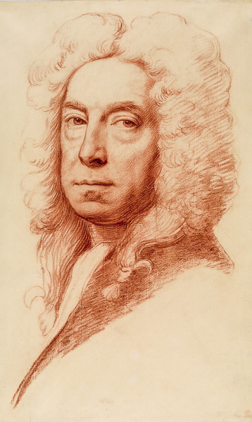 Jonathan Richardson Self portrait red chalk on off white paper c1738