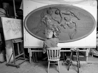 Geoffrey Preston working on a clay model based on a Tintoretto painting of Bacchus rococo plasterwork
