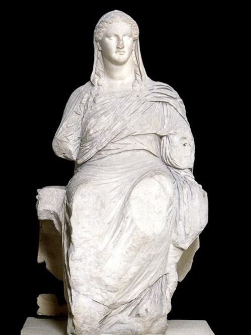 ancient greek art Demeter marble statue around 360 BC from the sanctuary of Demeter British museum