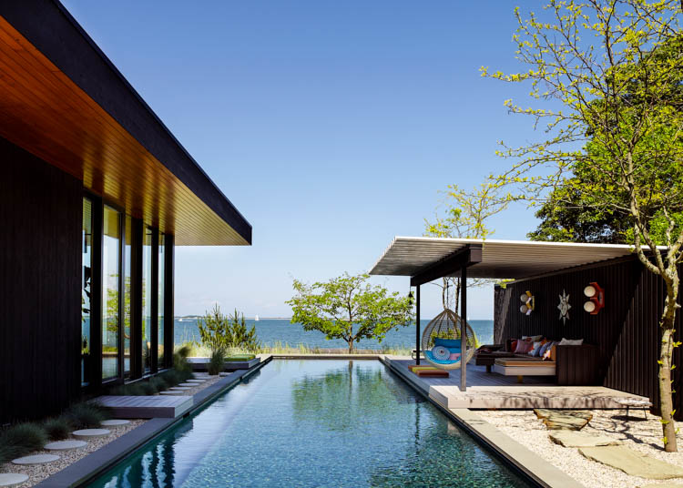 Seaside House, Shelter Island, New York, waterside modern
