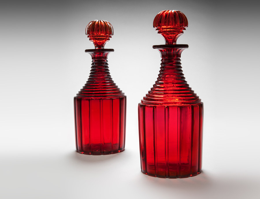 A pair of mid 19th century cut glass ruby red decanters masterpiece london 2016 Mallett