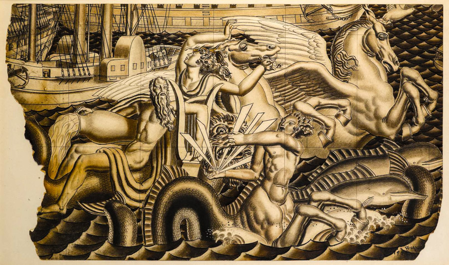 Jean Dupas Study for The Chariot of Poseidon Mural masterpiece london 2016 STEPHEN ONGPIN FINE ART