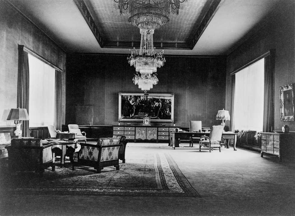 Heinrich Hoffmann, photograph of Hitler's Ceremonial Office on the second floor of the modernist building annex to the Old Chancellery in Berlin after the renovation of the former Red Room by the Atelier Troost, c. 1935.