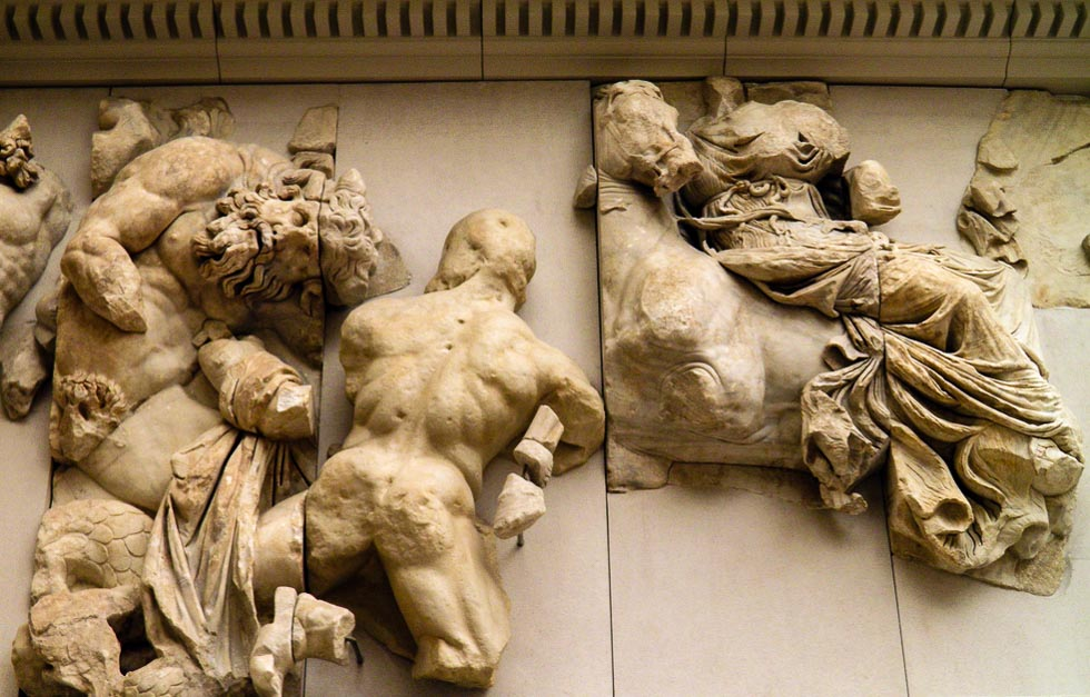 Ruins and Fragments Gigantomachy frieze, Pergamon Altar, Pergamon Museum, Berlin