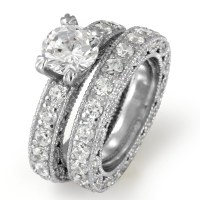 Round Bridal Set Cubic Zirconia Wedding Band Engagement ...
