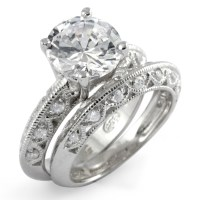 Round Cubic Zirconia Bridal Set Wedding Engagement Ring ...