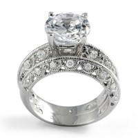Round Cubic Zirconia Bridal Set Wedding Engagement Ring