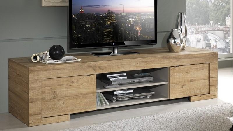 meuble tv design bois 190 cm 2 portes