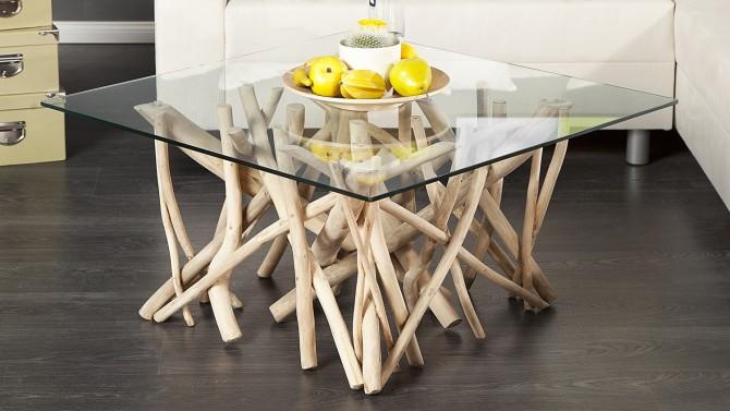 table basse en verre avec bois flotte clay