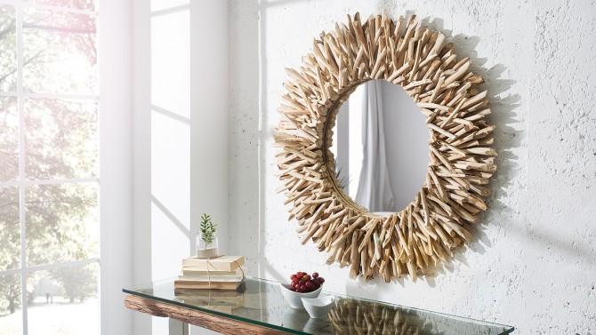 Grand miroir rond design moderne cadre bois flott Roy  GdeGdesign