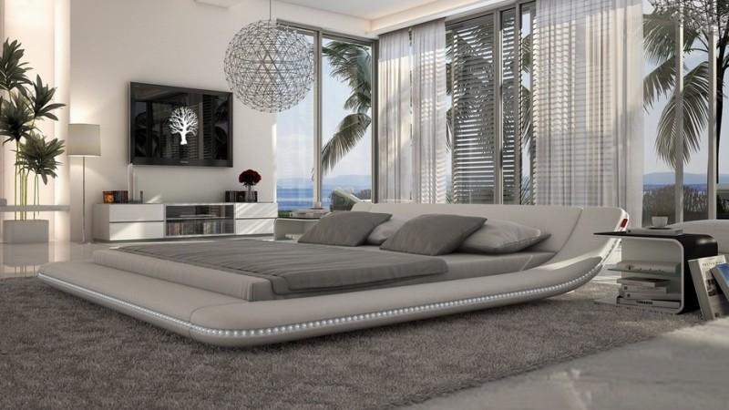 Lit moderne simili cuir blanc 140x190 cm avec LEDs Apex  GdeGdesign