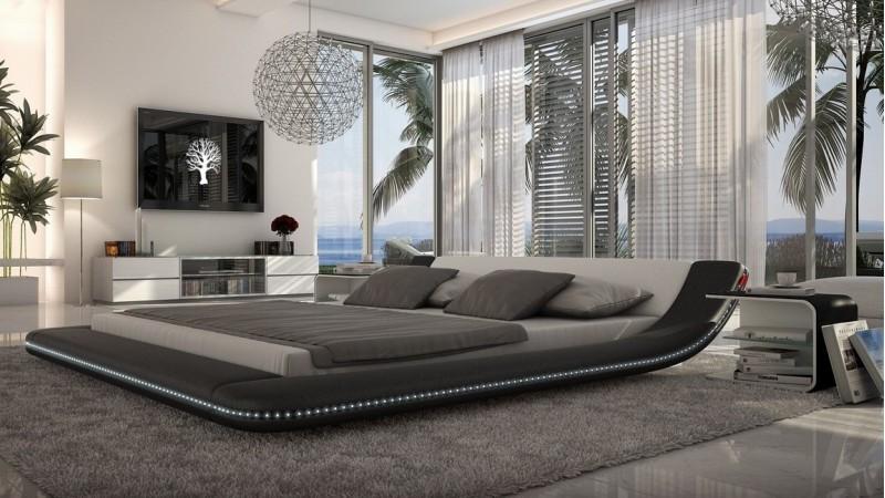 lit design blanc et noir led 200x200 cm simili cuir apex