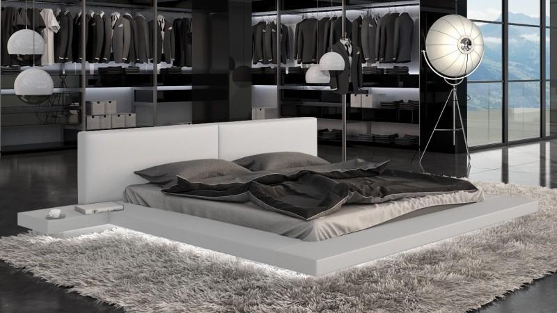 lit design en simili cuir blanc 140x190