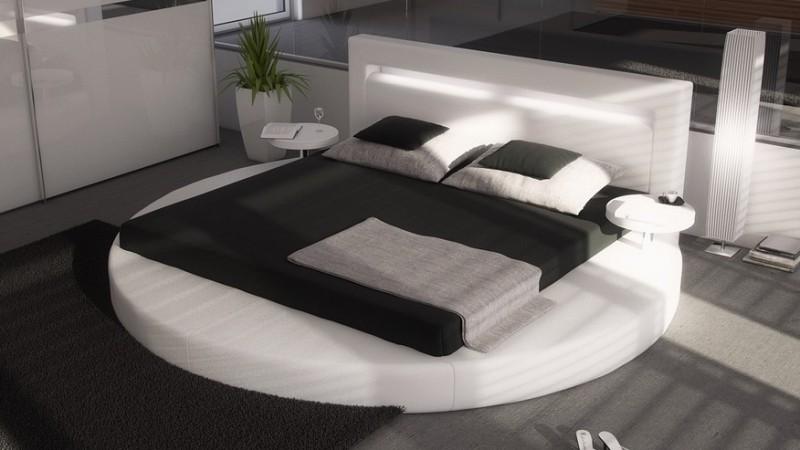 lit rond simili blanc eclairage integre