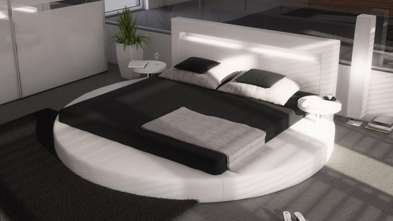 Lit rond design 160x200 en simili blanc avec clairage