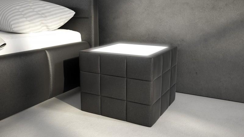 Chevet lumineux en simili cuir avec clairage Shelton  GdeGdesign