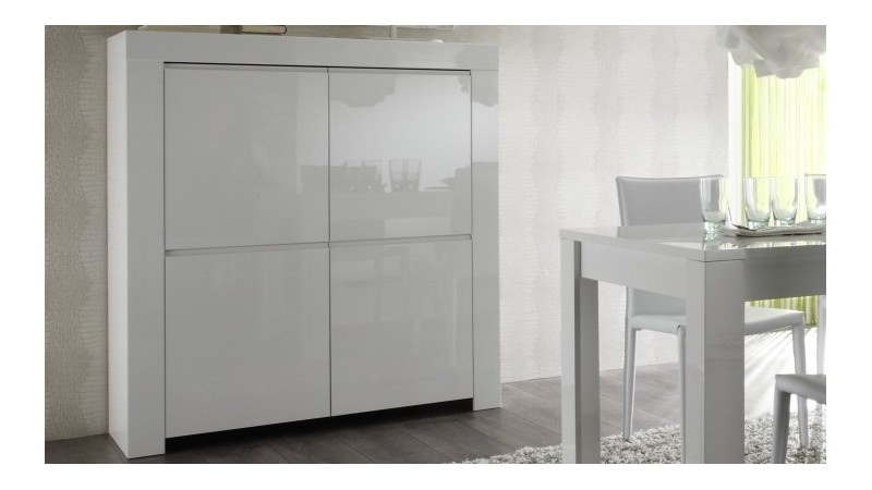 Buffet Haut Design Laque 4 Portes Avec Etageres Naomi Gdegdesign