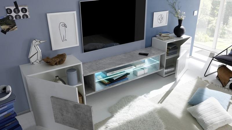 meuble tv design beton laque blanc 2