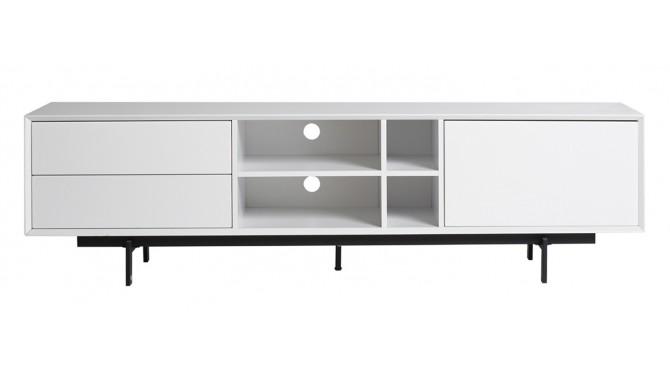 meuble tv blanc 180 cm 2 tiroirs 4 niches et 1 porte bart gdegdesign