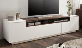 meuble tv design laque blanc et bois kigali