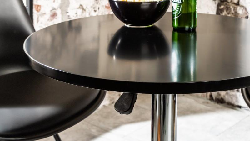 Table Haute Moderne Bois Mdf Plateau Rond Pivotant Izola Gdegdesign