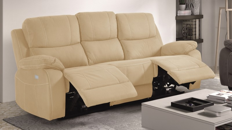 Canap De Relaxation 3 Places Moderne En Tissu Russell