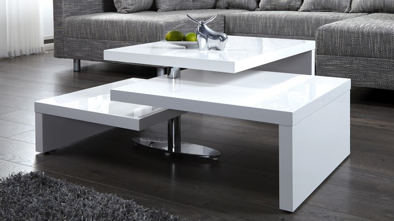 table basse design blanche modulable en